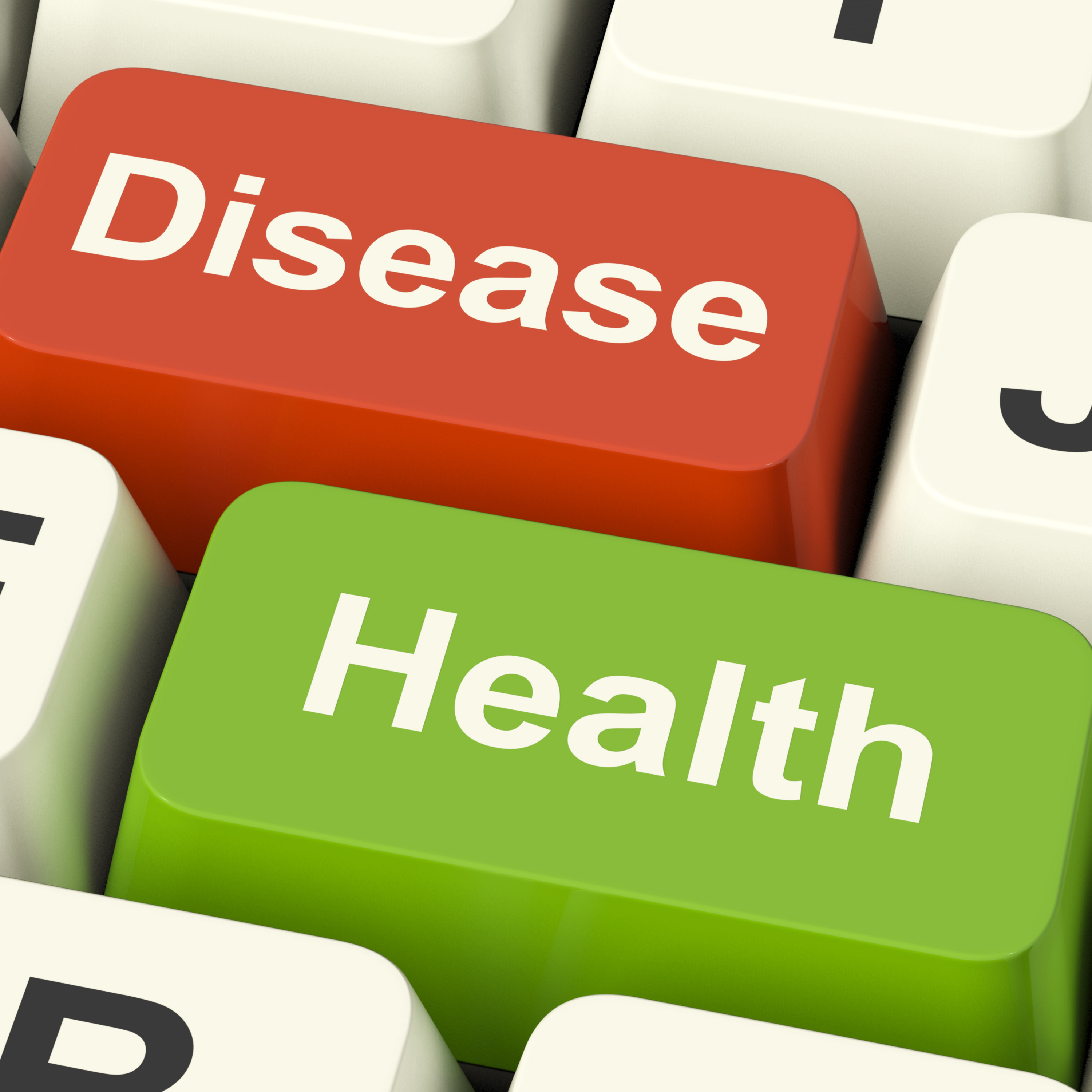 Disease And Health Computer Keys Showing Online Healthcare Or Treatment